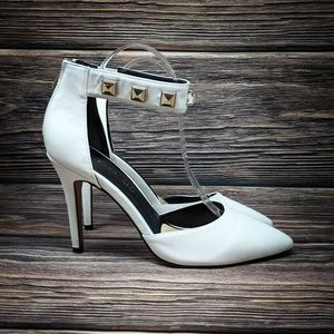 Aldo Leather D'orsay White Ankle Strap Studded 8.5